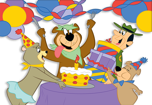 yogi bear™ and friends celebrating birthday
